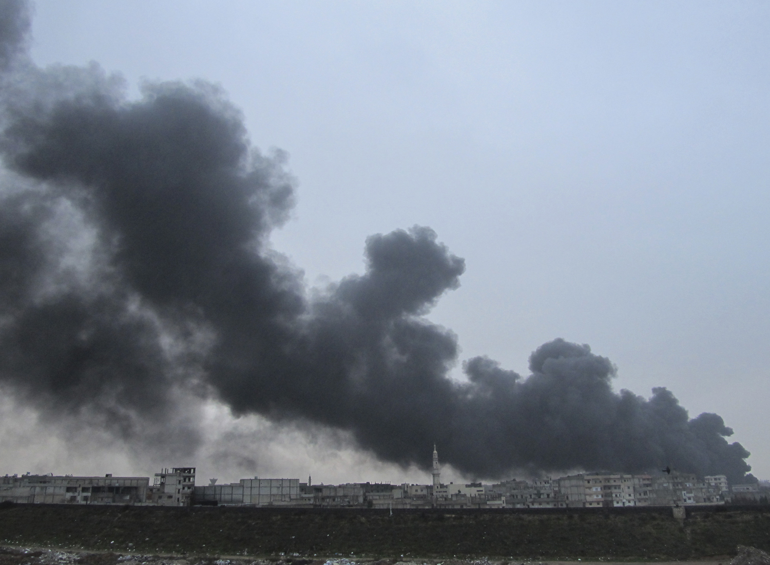 Black Smoke Is Seen From Homs Refinery Middle Of The Pacific